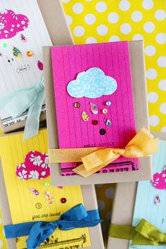Sending out spring paper kits today with a little extra handmade love  ☔️ I wouldn't mind a rain shower of colorful sequins ;) Happy rain showers! Xoxo #inspirelovely #packaging #clouds #libertyoflondon #scrapbooking #handmade #spring #sequins