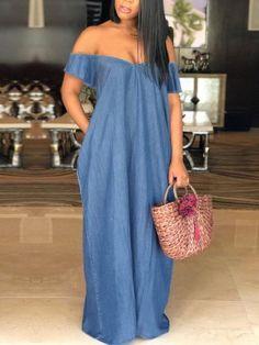Shop Maxi Dresses Oversized Off Shoulder Loose Denim Maxi Dress Trend Fashion, Denim Fashion, Look Fashion, Fashion Outfits, Womens Fashion, Feminine Fashion, Fashion 2018, Cheap Fashion, Ladies Fashion
