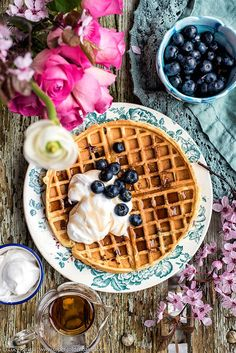 Blueberry Waffles with Whipped Coconut Cream - delicious for brunch or even dessert