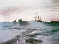 Shackleton's Antarctica, in color—A midwinter glow, Weddell Sea showing the Endurance. Photographed by Frank Hurley, 1915.