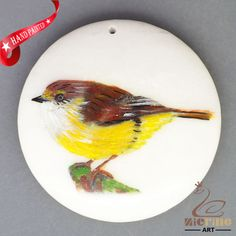 HAND PAINTED BIRD STONE NECKLACE PENDANT BEAD ZH20 01138 #ZL #Pendant