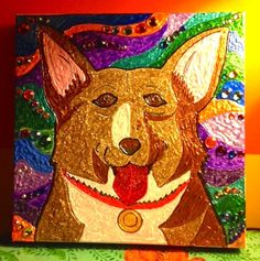 Ein complete! Fabric paint and rhinestones on canvas.