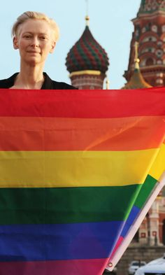 Tilda Swinton with rainbow flag in Moscow's Red Square to protest Russia's archaic antigay laws