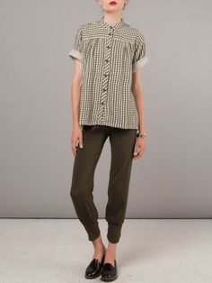 Cute gingham white black striped vertical shirt blouse, cropped olive green pants, loafers oxfords toms
