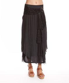 Another great find on #zulily! Pretty Angel Black Linen-Blend Maxi Skirt - Women by Pretty Angel #zulilyfinds