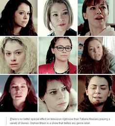 "Orphan Black: ""There's no better special effect on television right now than Tatiana Maslany playing a variety of clones. Orphan Black is a show that defies any genre label. Genre Labels, Sarah Manning, Black Tv Shows, Tatiana Maslany, Nerd Herd, Nerd Love, Orphan Black, Comic Book Characters, Pure Beauty"
