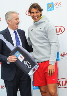 Rafael Nadal of Spain poses with Australian Open Tournament Director, Craig Tiley during a Kia media opportunity ahead of the 2015 Australian Open at Melbourne Park on January 15, 2015 in Melbourne, Australia. (Photo by Vince Caligiuri/Getty Images)