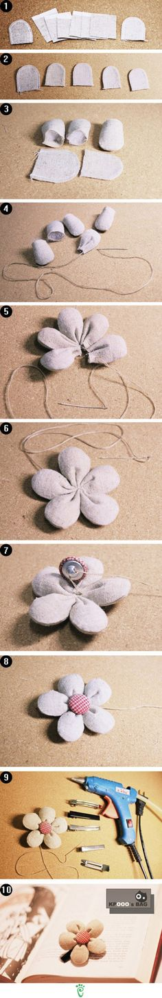 Puffy Flower button hairpin