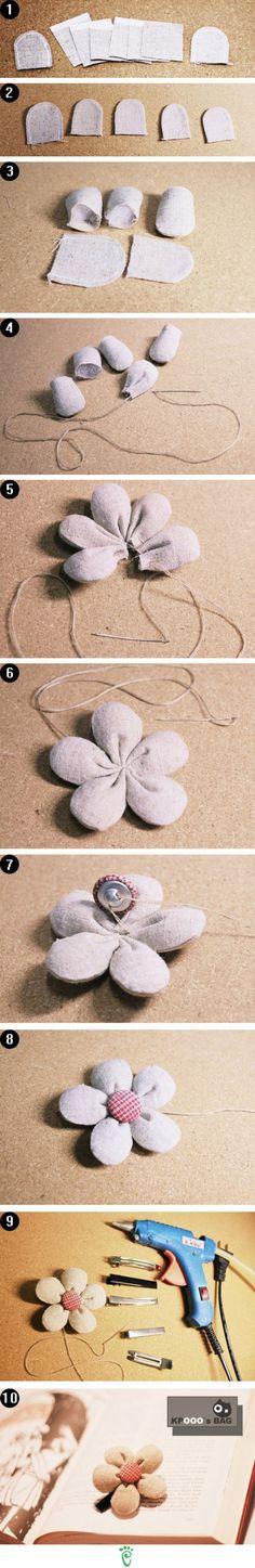 Puffy Flower button hairpin