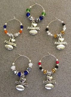 "football wine glass charms ""can make your team colors"" set of 4 #Handmade"