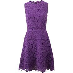 Oscar De La Renta Lace A-line Dress (8.540 RON) ❤ liked on Polyvore featuring dresses, short dresses, vestidos, lace dress, purple lace cocktail dress, lace a line dress and purple lace dress