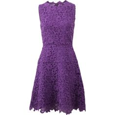 Oscar De La Renta Lace A-line Dress (€3.130) ❤ liked on Polyvore featuring dresses, purple a line dress, knee-length dresses, lace cocktail dress, a line dress and a line knee length dress