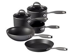 Raymond Blanc Hard Anodised Cookware Set, 5-Piece - Black