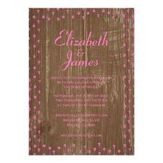 ShoppingPink Brown Rustic Country Wood Wedding Invitations Custom Announcementswe are given they also recommend where is the best to buy