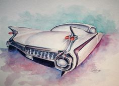 '59 Cadillac painted in watercolors #classic #classiccars #retro #art #artwork #watercolor #cadillac