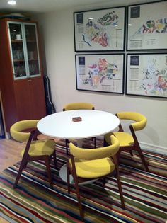 billy & andrea's place in brooklyn....such style mavericks. trove decor vintage lemon boucle on midcentury chairs