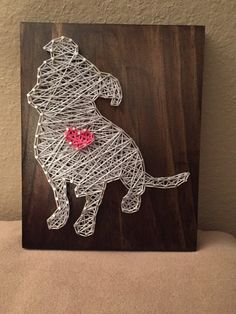 MADE TO ORDER - Pitbull with Heart String Art Wooden Board by StringSimply on Etsy https://www.etsy.com/listing/268523604/made-to-order-pitbull-with-heart-string