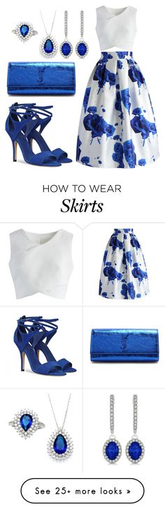 """""""blue dream"""" by esha2232 on Polyvore featuring Chicwish, Yves Saint Laurent, Allurez and Sterling Essentials"""
