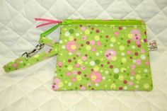 Wristlet Apple Green and Hot Pink Polka Dot by ByNanasHands for $13.00