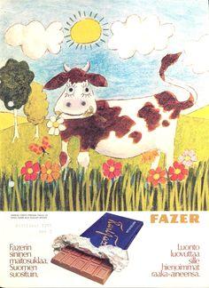 Karl Fazer ad from the 1970´s #milkchocolate #sanokaafazerkunhaluattehyvää