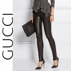 "GUCCI Leather Leggings Amazing haute couture at an incredible discount!!! Originally $1900! Buttery soft leather leggings with side zips at waist and ankles. Has a little stretch. These are BRAND NEW! NEVER WORN! Still have the plastic barbs from store tags. Back waist tag is missing (4th pic) but has the GUCCI material label inside pants. Waist 32"". Inseam 27.5"" Gucci Pants Leggings"
