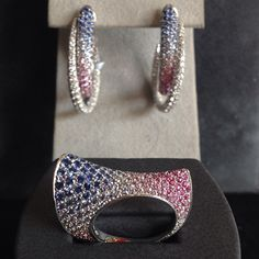 Pink and Blue Sapphire Ring and Earring Set by Scavia - Available at Maddaloni Jewelers