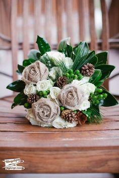 Цветы из мешковины фото #1