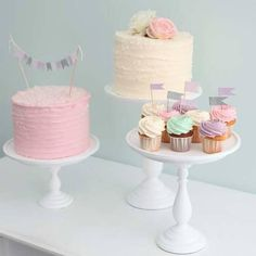Two rustic pastel cakes with pretty pastel cupcakes