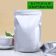 """100pcs/lot 5.1""""*7.0""""+1.5""""(13cm*18cm+4cm)*220micron AL Foil Bag Packing Plastic Stand Up Bags With Zipper Top Seal Wholesale"""