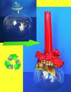 Recycle/upcycle the top of a soda bottle into a candle holder. Noel Christmas, Christmas Crafts, Christmas Decorations, Xmas, Christmas Ornaments, Plastic Bottle Crafts, Recycle Plastic Bottles, Recycled Crafts, Diy And Crafts
