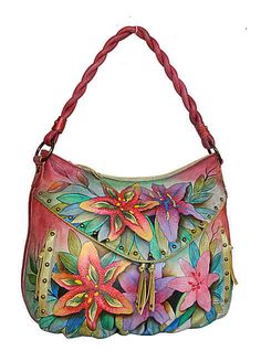 b39b2816f88 Anuschka Bags Hand Painted Leather Multi Pocket Hobo 513LLY Womens  Luiscious Lilies