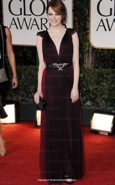 Emma Stone 2012 Golden Globe A-line V-neck Floor-length Dresses(SCD118)