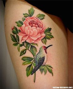 Humming bird and a flower - The humming bird tattoo is so cute with the flower. I like it better than butterflies. #TattooModels #tattoo