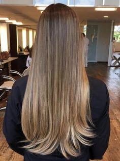 long straight brown hair with balayage highlights