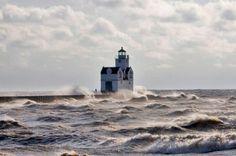 Kewaunee Lighthouse in March.  Kewaunee, Wisconsin