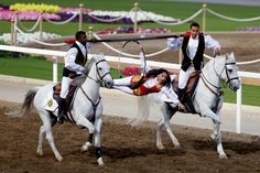 Omani horse riders show their skills during the annual Royal Horse Racing Festival in Muscat.