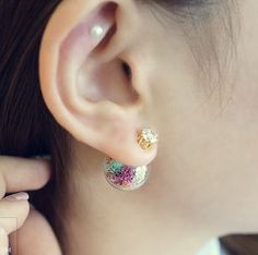 Pretty real dried flowers ear jacket earrings featuring multi color flowers  Size: real glass ball : 1.6 cm cubic size : 0.6 cm Materials : brass, titanium posts