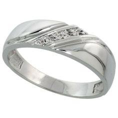 Sterling Silver Mens Diamond Wedding Band Ring 0.03 cttw Brilliant Cut, 1/4 inch 6mm wide Sabrina Silver. $63.98