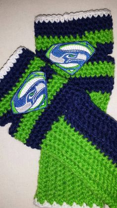 Crochet Seahawks,  BIG GAME! Fingerless gloves with patch