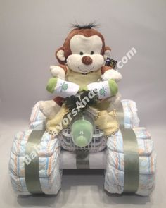 4 Wheeler (ATV) Diaper Cake, Baby shower centerpiece or table decorations