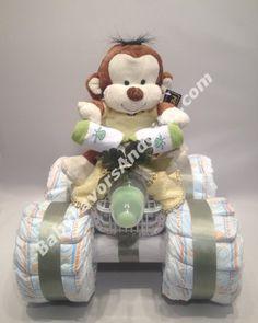 4 Wheeler (ATV) Diaper Cake, Baby shower centerpiece or table decorations