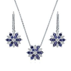 BERRICLE Rhodium Plated Sterling Silver Cubic Zirconia CZ Flower Necklace and Earrings Set >>> Click on the image for additional details.(This is an Amazon affiliate link and I receive a commission for the sales)