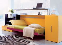 Cabrio IN is a space saving wall bed designed in Italy by Clei, shelf above comes down and becomes a desk