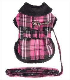 Minky Fur Lined Dog Harness Jacket in Plaid with Free Leash