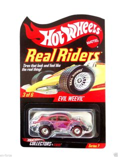 Hot Wheels  RED LINE CLUB EXCL.  EVIL WEEVIL MAGENTA OVER CHROME & REAL RIDERS