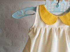 Peter pan Collar Organic girls shirt top clothing mustard and cream. $38.00, via Etsy.