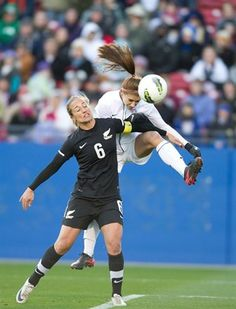 Alex Morgan goes high for one of her two goals in the final 5 minutes against New Zealand in Frisco on Feb. 11, 2012. The United States won, 2-1. (The WNT Blog, U.S. Soccer)
