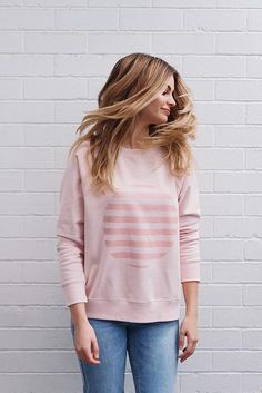 Our new Alice printed Spot Sweatshirt lends a sophisticated look to a super comfy wardrobe staple. Available in Floss Pink, Ivory and Cloud. ο cotton, Studio, Wardrobe Staples, Alice, Spring Summer, Pullover, Sweatshirts, Sweaters, Cotton, Pink