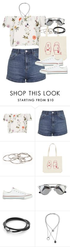 """""""Outfit for summer with shorts and an off-the-shoulder top"""" by ferned ❤ liked on Polyvore featuring Topshop, Pieces, Forever 21, Converse and Maison Margiela"""