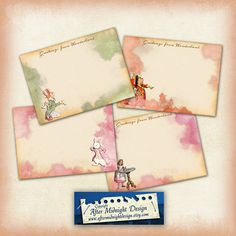 ALICE NOTECARDS Colourful Cards digital by aftermidnightdesign